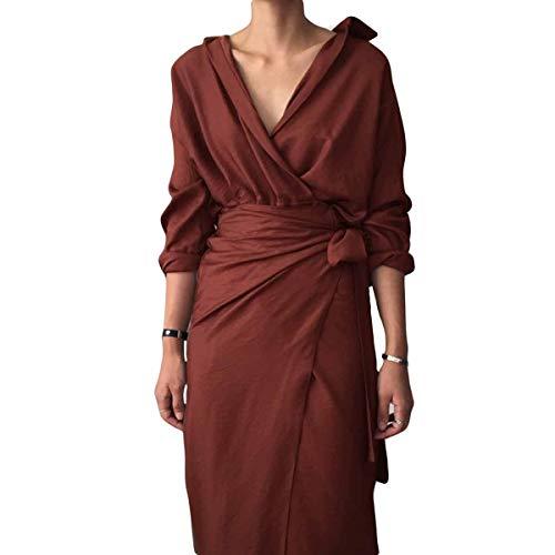 8544fa5691d2 Da V Con Rosso Avvolgente Longuette Lunghe Maniche Scollo A Elegante  Vestito Donna 5nUgxF