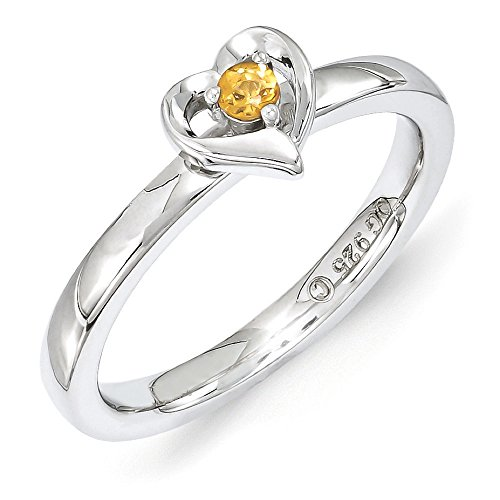 Genuine November Birthstone Heart Ring - 4