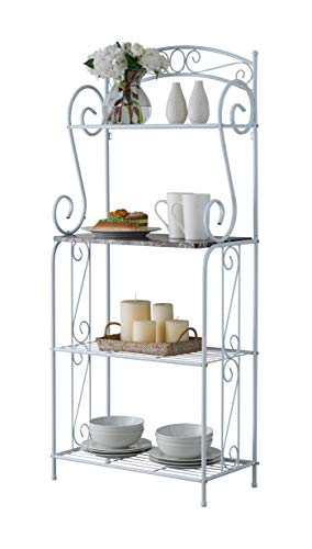 Kings Brand Furniture - Bulberry Metal Kitchen Storage Baker's Rack, White by Kings Brand Furniture (Image #2)