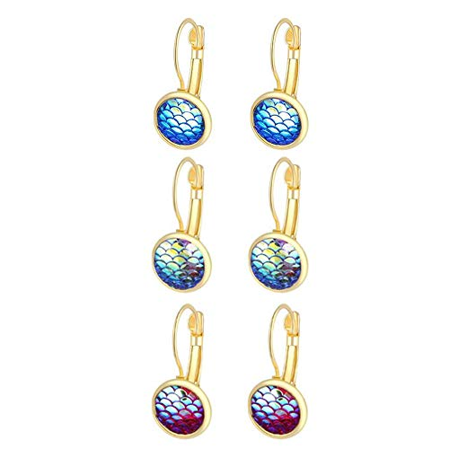 Trio Mermaid Dragon Fish Scale Silver Tone Lever Back Earrings Mixed Iridescent Blue Green Best ()