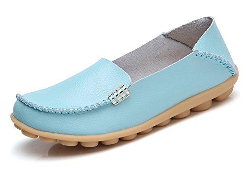 Blivener Womens Casual Loafers Walking Flat Shoes Comfort Summer Slippers Lightblue CzHEtzx1d