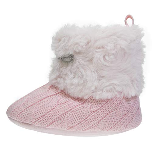 bebe Infant Girls Knit Boots Size 1 with Cuffs Soft Lightweight Slip-On Shoes Blush