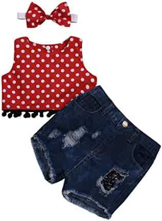 826ce40e2 Boys Summer Casual Clothes Set Infant Baby Kids Girl Polka Dot Vest Top+ Denim  Shorts+