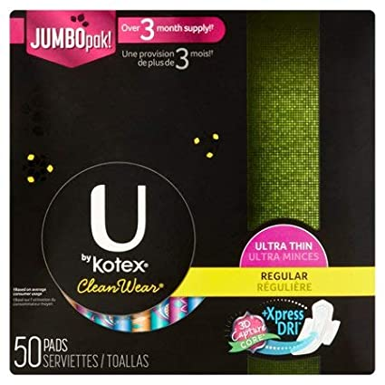 U by Kotex CleanWear Ultra Thin Regular Pads with Wings, Unscented (50 ct.