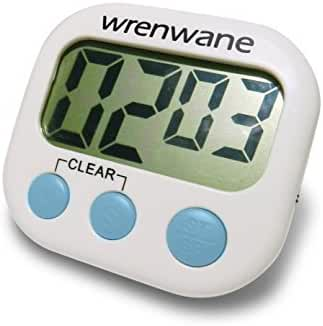 Wrenwane Digital Kitchen Timer, Big Digits, Loud Alarm, Magnetic Backing, Stand, White