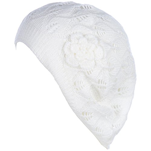 BYOS Chic Parisian Style Lightweight Crochet Beret Beanie Hat with Flower Adornment, More Styles (White Leafy)