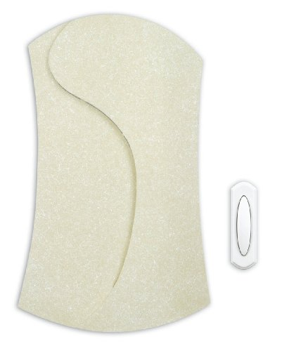 Heath Zenith SL-6274-A Wireless Battery Operated Door Chime with Textured Cover, Cream