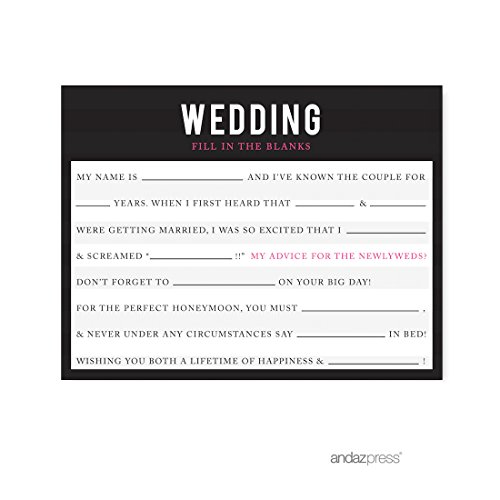 Andaz Press Modern Black and White Stripes Wedding Collection, Wedding Reception Fill in The Blanks Game Cards, 20-Pack