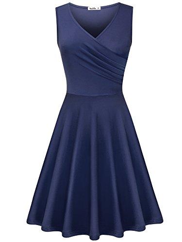 ant V-Neck Sleeveless Summer Casual Midi Dress Purple Grey XL (Sleeveless Flare Dress)