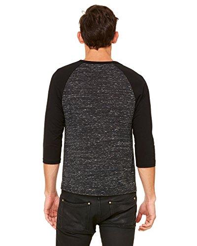 Bella 3/4 Sleeve T-shirt - Bella + Canvas Unisex 3/4-Sleeve Baseball T-Shirt - BLCK MRBLE/ BLCK - M - (Style # 3200 - Original Label)