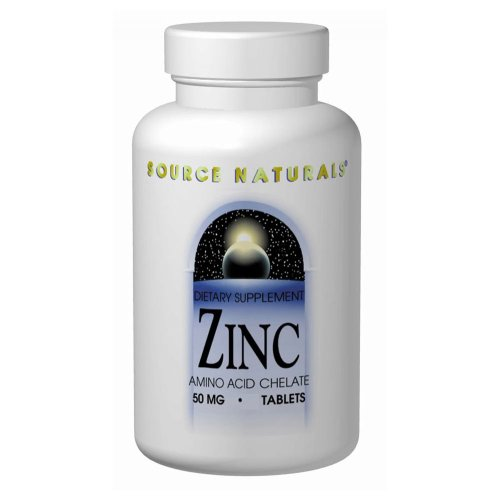 Source Naturals Zinc Chelate 50mg, 100 Tablets (Pack of 2)