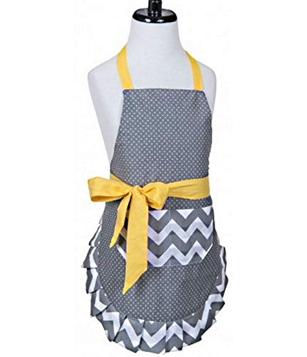 Amazon.com: Flirty Aprons Girls\' Kids Kitchen Apron - Gray ...