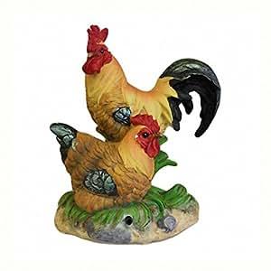 Doodledoo Alert–Gallo y gallina en la hierba–Adorno de jardín Alert