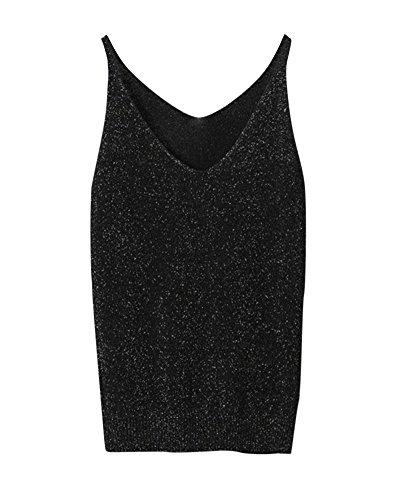 V Gilet Waistcoat Tricots Sweat Noir PengGeng Sans Manches Vest Femme Costumes Neck TUxxpSA