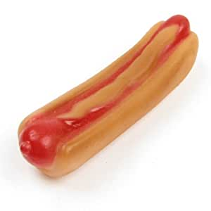 "uxcell 5.5"" Length Beige Vinyl Rubber Hot Dog Shaped Squeaky Pet Dog Chew Toy"
