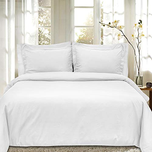 Duvet Cover 5 Piece Includes 2 Shams & 2 Pillowcases 1800 Supreme Soft Hypoallergenic Solid Color Wrinkle and Fade Resistant Set, White
