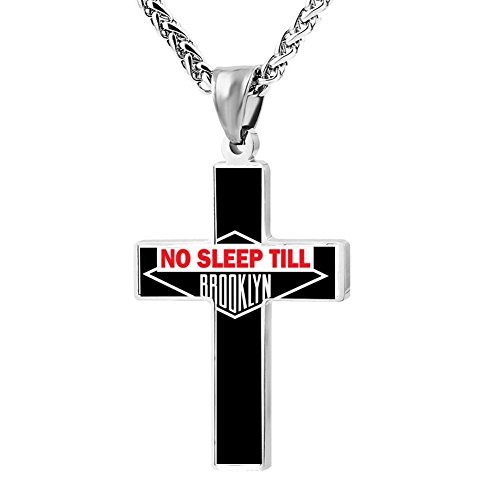 Kenlove87 Patriotic Cross No Sleep Till Brooklyn Religious Lord'S Zinc Jewelry Pendant Necklace]()