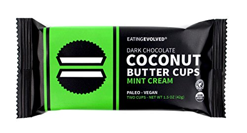 Eating Evolved Dark Chocolate Coconut Butter Cups Mint Cream, 1.5 oz Dark Chocolate Mint Cups