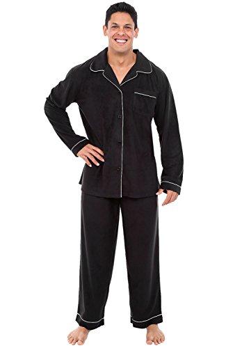 Alexander Del Rossa Mens Fleece Pajamas, Long Button-Down Pj Set, Medium Black (A0327BLKMD)