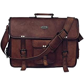 18 Inch Retro Goat Leather Laptop Messenger Bag Office Briefcase College Bag for Men and Women (Brown 18 inch)