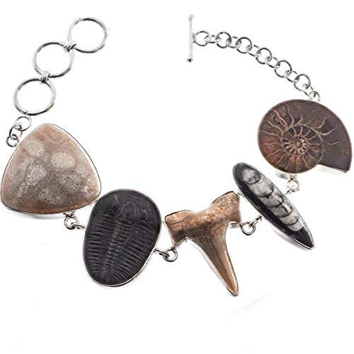 Ammonite Shark Coral OTHOCERAS Trilobite Fossil 925 Sterling Silver Bracelet YE-367