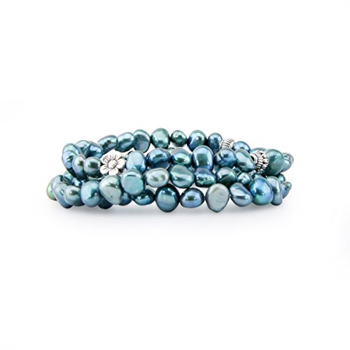 Genuine Freshwater Cultured Pearl 7-8mm Stretch Bracelets with base-metal-beads (Set of 3) 7.5