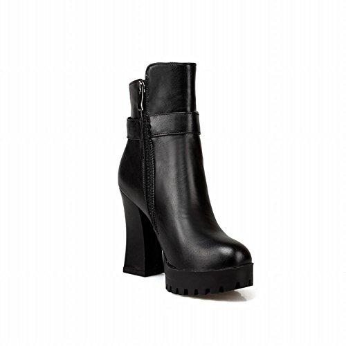 Latasa Womens Fashion Beaded Pendant Buckle Strap Zipper Platform Block High Heel Ankle High Dress Boots Black j3ojnGxvY