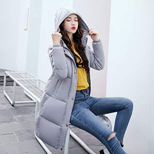 air longue mode élégante de assez chaud Manteaux capuchon monochrome taille longue Stlie de veste plus Grau la Slim longues pour femmes plein manteau à matelassé d'hiver veste matelassée manches Fit xzqx8UB