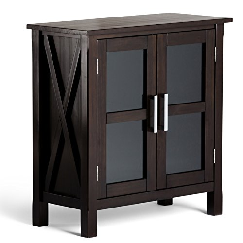 Simpli Home Kitchener Solid Wood Low Storage Cabinet, Dark Walnut Brown Brown Storage Cabinet
