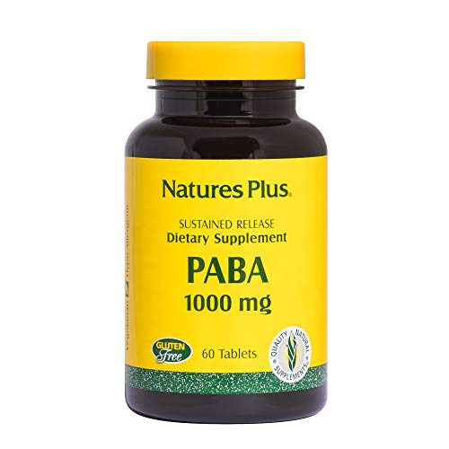 NaturesPlus PABA, Sustained Release (para-Aminobenzoic Acid) - 1000 mg, 60 Vegetarian Tablets - Skin Health Support Supplement, Promotes Energy Production - Gluten-Free - 60 Servings