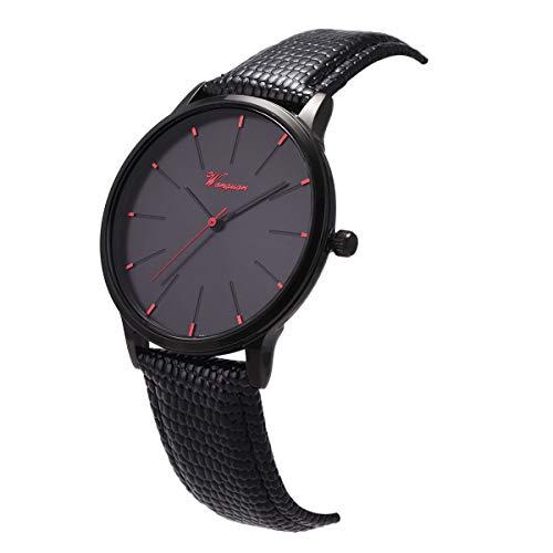 Wrist Watch Ultra-Thin Minimalist Lizard Grain Genuine Leather SIBOSUN Black Red Men Quartz Classic