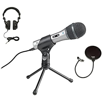 Audio Technica ATR2100-USB USB/XLR Microphone with Knox Pop Filter and Headphones