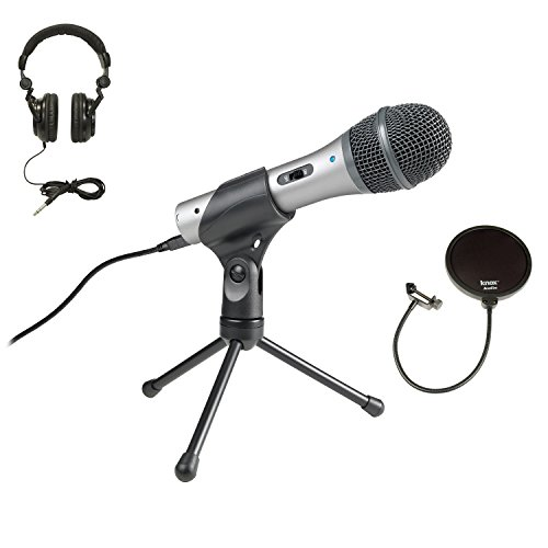 Price comparison product image Audio Technica ATR2100-USB USB / XLR Microphone with Knox Pop Filter and Headphones