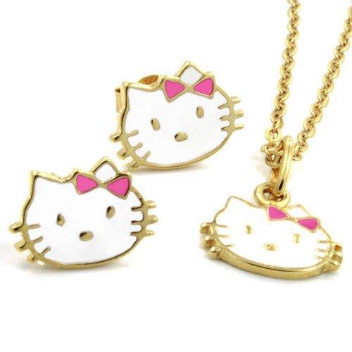 Hello Kitty Kids–niños conjunto de joyas chapado en oro de joyería–oro tono