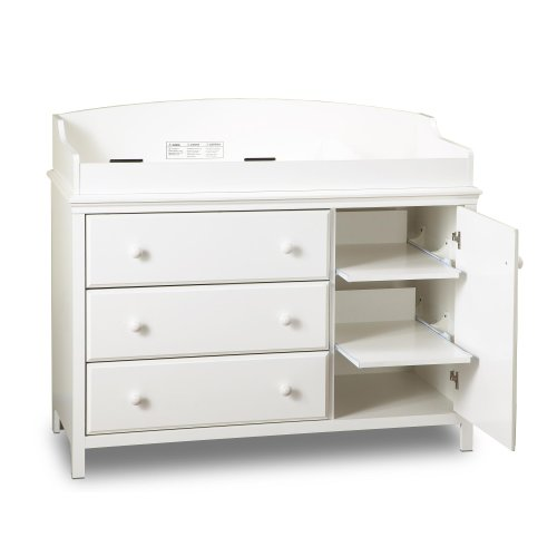 South Shore Furniture, Cotton Candy Collection, Changing Table with 2 Pull-Out Shelves, Pure White (Changing Table Dresser White compare prices)