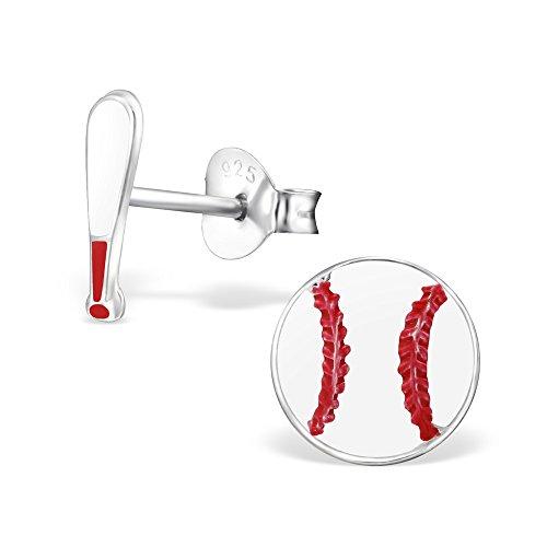 (925 Sterling Silver Hypoallergenic Baseball & Bat Stud Earrings for Girls)