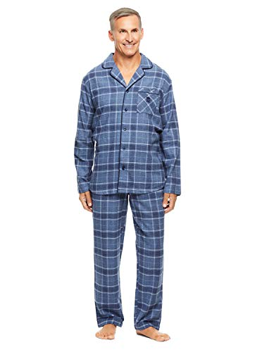 (Haggar Men's 2-Piece Pajama Set   Long Sleeved Sleep Shirt & Plaid Pants M)