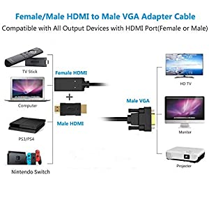 FOINNEX Male/Female HDMI to Male VGA Converter Cable