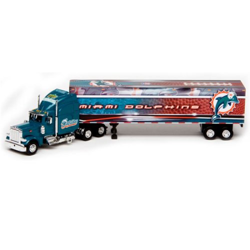 Miami Dolphins Upper Deck Collectibles NFL Peterbilt Tractor-Trailer (Tractor Diecast Nfl Trailer)