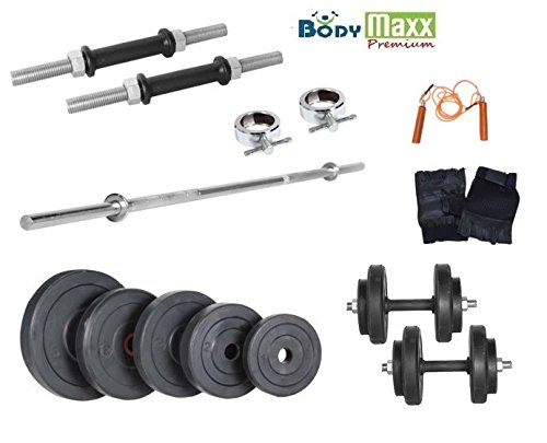 Body Maxx 100 KG RUBBER WEIGHT PLATES + 3 FT BICEPS / TRICEPS BAR + 2 PCS DUMBELLS RODS + GLOVES + ROPE, HOME GYM WEIGHT LIFTING PACKAGE