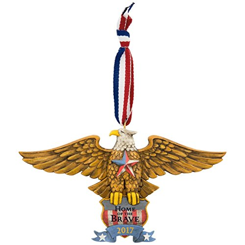 17 Home of the Brave Patriotic Folk Art Eagle Dated Christmas Ornament (Marine Keepsake Box)
