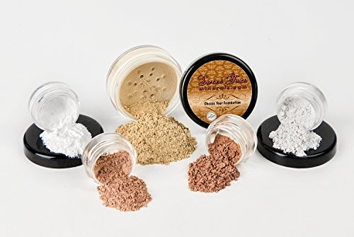 STARTER SET (WARM Neutral Shade-Most Popular) Mineral Makeup Kit Bare Skin Sheer Powder Matte Foundation Blush Bronzer Illuminating Veil ()