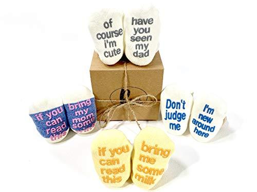 Cute Quote Baby Socks Gift Set 4 Pair Baby Shower Gift Anti-slip Unisex Boy Girl Newborn Present 0-12 Month