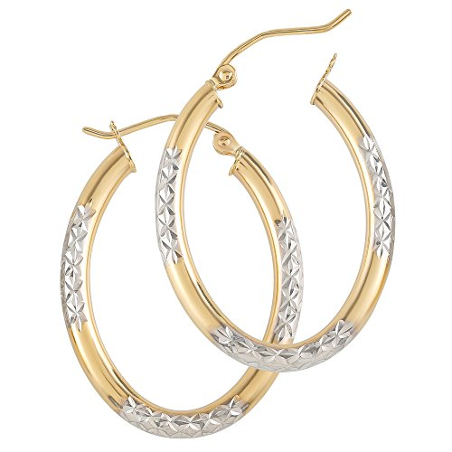 14k Gold Hoop Earrings for Womens - Real Jewelry Small & Large Tube Yellow White Rose Hoops - Cute Aretes De Mujer Oro 14 K Medium and Long (14k 3mm Oval Tube Two Tone Hoop, 15) (Oval Long Ring)