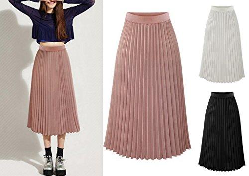 Uni pour Skirt Couleur Plisse COMVIP Bohmien Voyage Fashion Plage Vacances Noir Et Femme Jupe w0qwIY