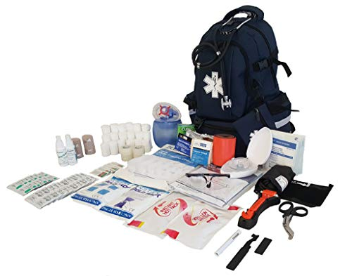 LINE2design First Aid Kit - EMS Emergency First Responder Rescue Fully Stocked Large Medical Supplies Backpack Trauma Kit - EMT - Paramedic - Navy Blue