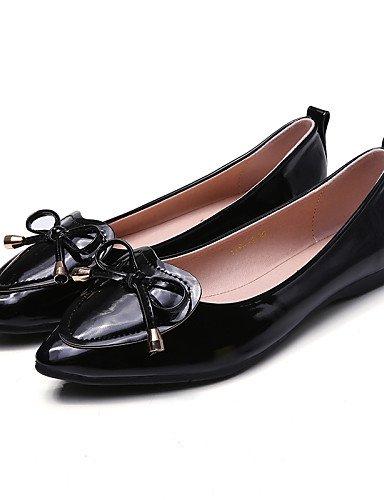 zapatos uk5 negro white eu38 Flats mujer Casual PDX talón redonda blanco plano rojo 5 us7 púrpura 5 cn38 de de punta Uqn6f5