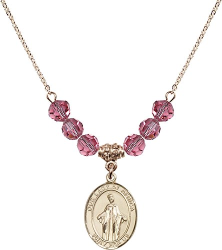 18-Inch Hamilton Gold Plated Necklace with 6mm Rose Birthstone Beads and Gold Filled Our Lady of Africa Charm. by F A Dumont