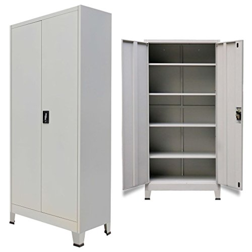 Festnight Tall Office Storage Cabinet with 2 Doors Steel Gray 35.4