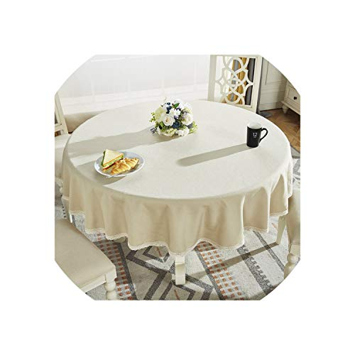 Round Table Cloth Cotton Linen Table Cover Plaid Grid Pattern Christmas Tablecloth Lace Edge Wedding Party Decor Tablecloths,Warm Grey,Diameter 220cm Round ()